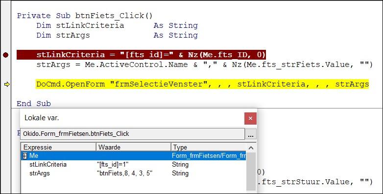 MS Access Database: selectievensters maken