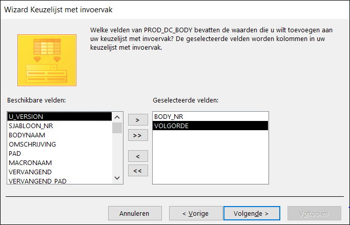 MS Access Database: selectievensters maken