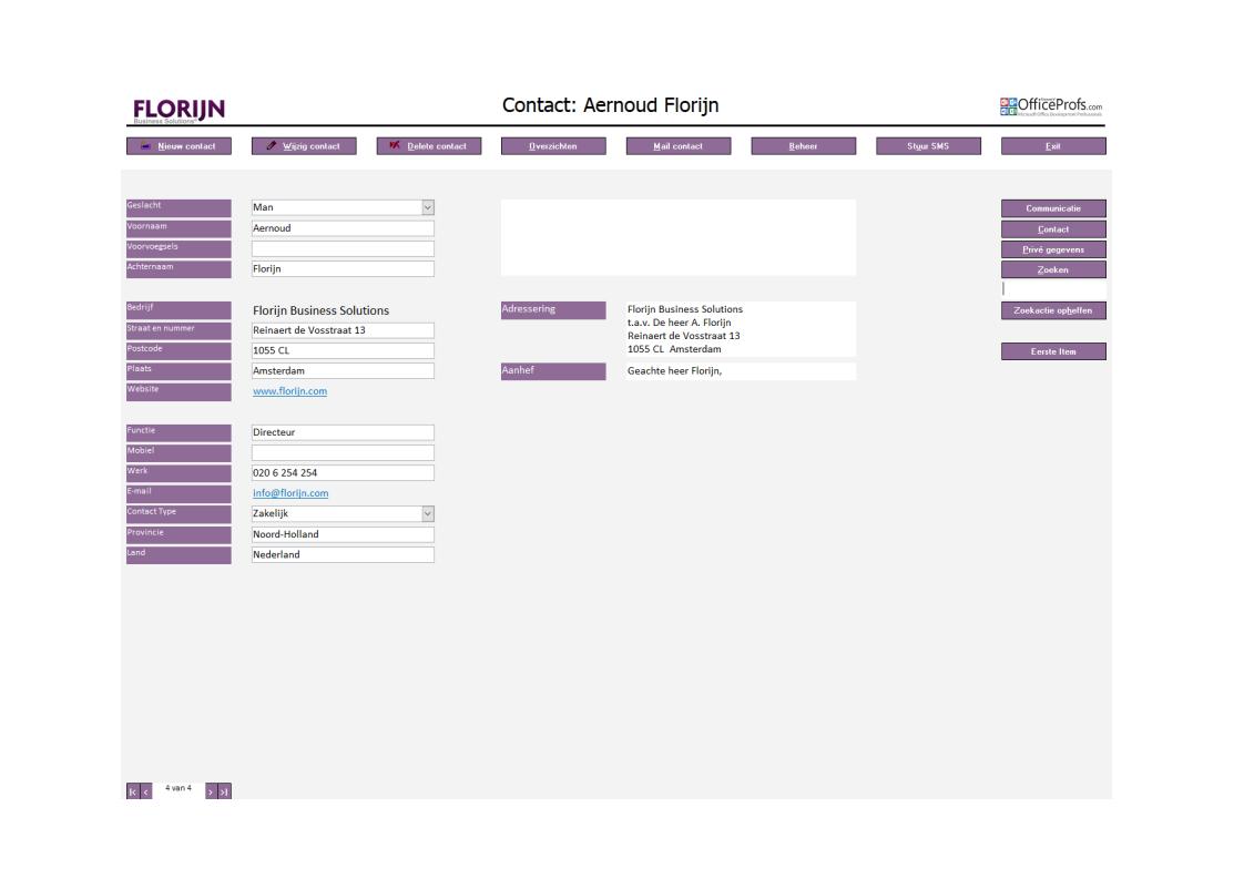 Contactmanagement database
